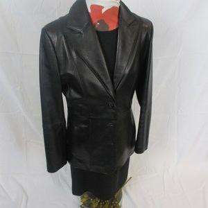 womens black uniform john paul richard leather jac